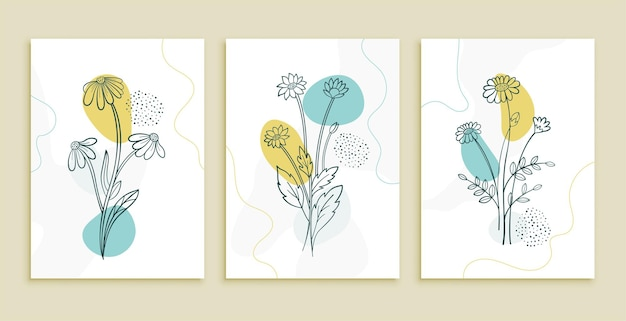 Decorative line flower and leaves art posters set