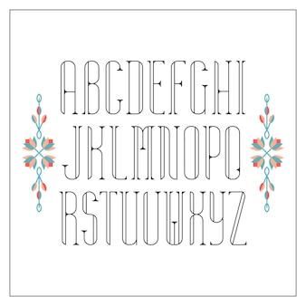 장식 선 글꼴. monoline serif 라틴 알파벳.