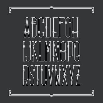 Декоративный линейный шрифт. однослойный латинский алфавит с засечками.