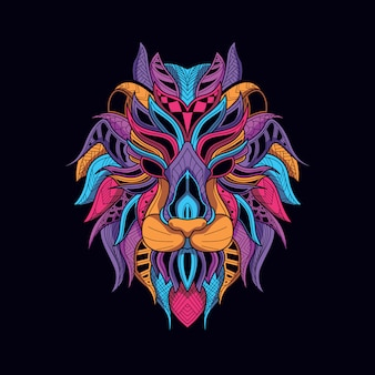 Decorative lion head from glow neon color
