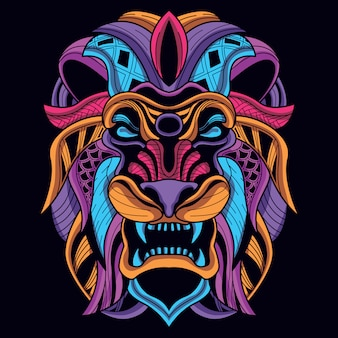 Decorative lion head from neon color