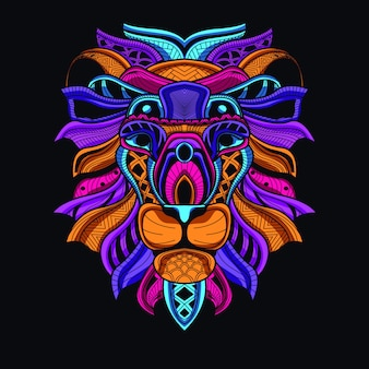 Decorative lion head in glow neon color