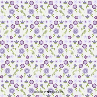Decorative little purple flowers with leaves pattern