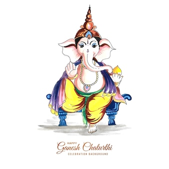 Decorative lord ganesha for ganesh chaturthi card