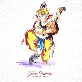 Lord ganesha decorativo per la carta ganesh chaturthi