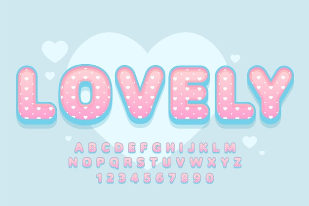 장식 사랑스러운 글꼴 및 알파벳 프리미엄 벡터