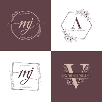 Decorative luxury wedding logo set