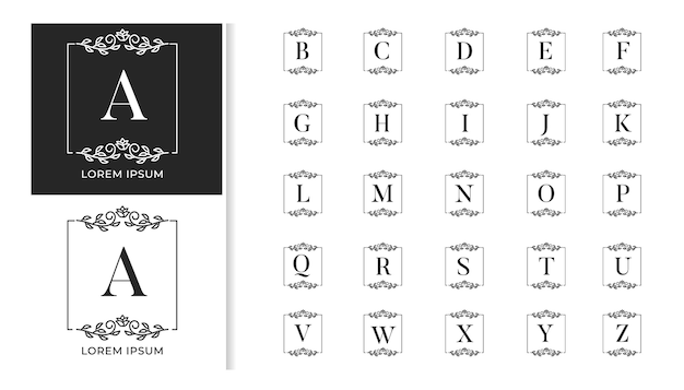 Decorative luxury wedding monogram logo alphabet set