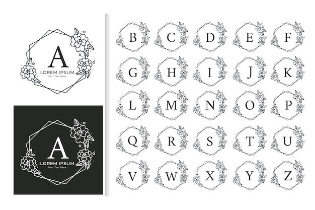 装飾的な豪華な結婚式のモノグラムロゴのアルファベットセット