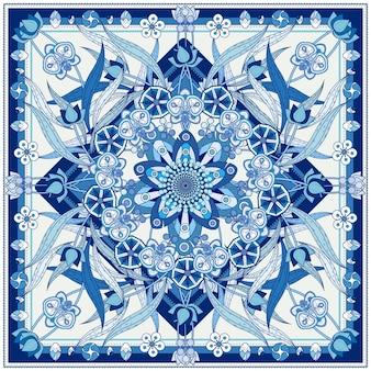蘭と幾何学的な要素を持つ装飾的な曼荼羅の背景デザイン