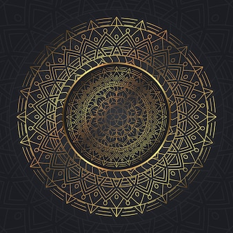 Decorative mandala background in gold and blue