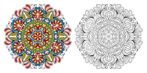 Decorative mandala colouring book page for adults and children