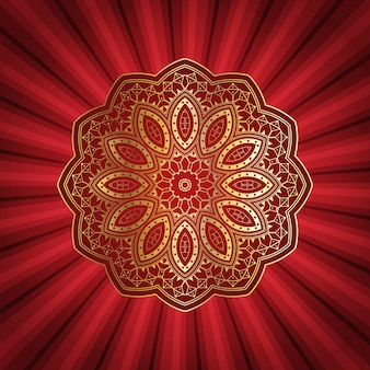 Decorative mandala design on starburst background