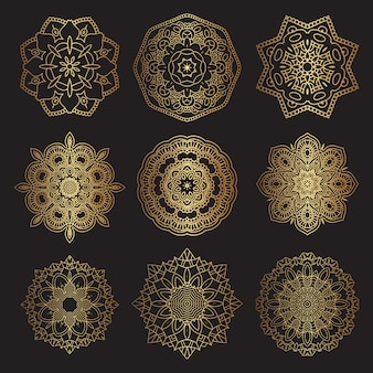 Decorative mandala designs in gold and black