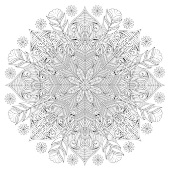 アウトライン花柄の装飾的な曼荼羅飾り