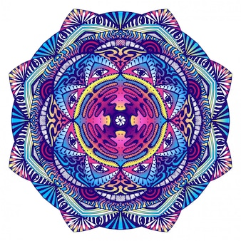 Decorative mandala with an all-seeing eye in dark colors