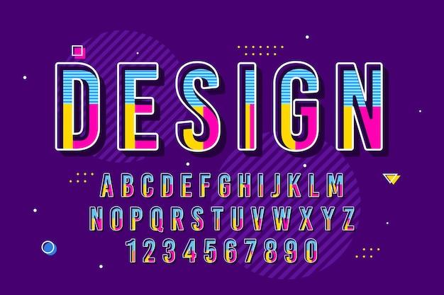 Decorative memphis font and alphabet