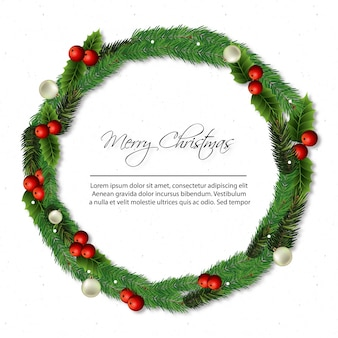 Decorative merry chrismas wreath desgin