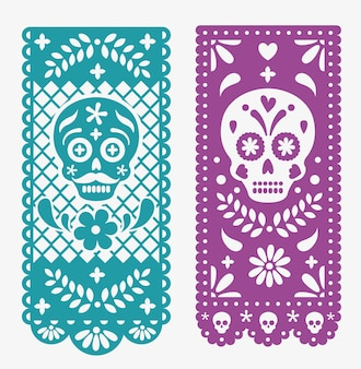 Decorative mexican paper with skulls and flowers