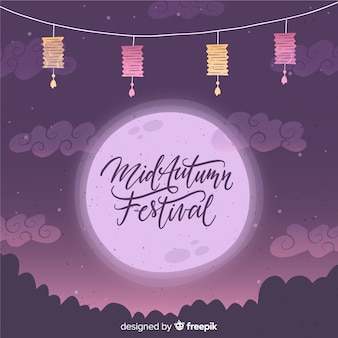 Decorative mid autumn festival background in hand drawn style
