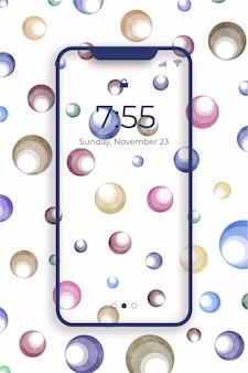 水彩風の泡で装飾的なモバイル壁紙