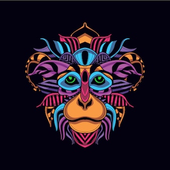 Decorative monkey face in glow neon color