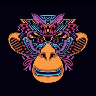 Decorative monkey head in glow neon color