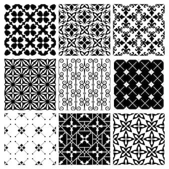 장식 흑백 타일 빈티지 패턴.