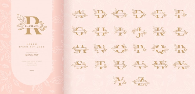 Decorative monogram split letters with leaves