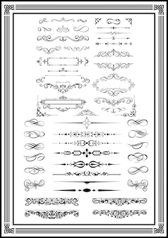 Decorative monograms and calligraphic borders black color
