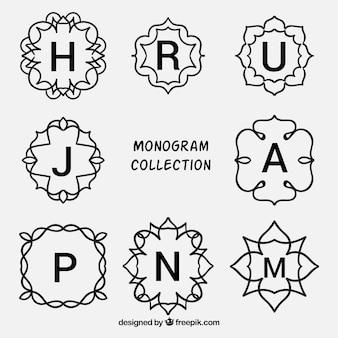 Декоративные монограммы набор инициалов