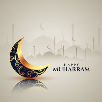 Decorative moon happy muharram card