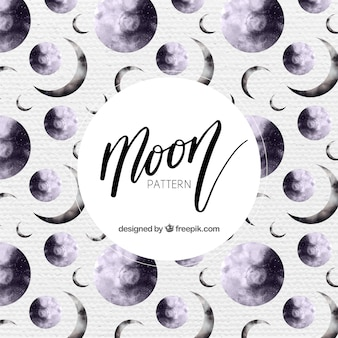 Decorative moon pattern painted with watercolor