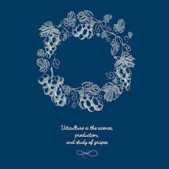 Decorative natural round wreath blue background