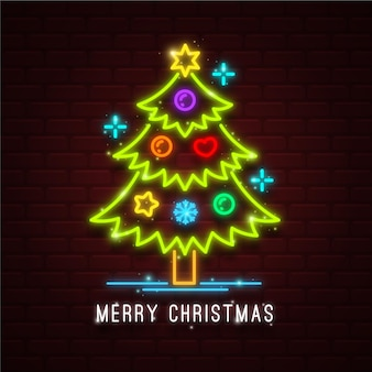 装飾的なネオンのクリスマスツリー