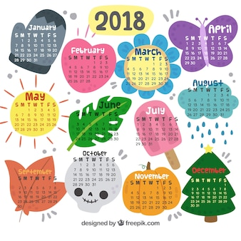 Decorative new year 2018 calendar