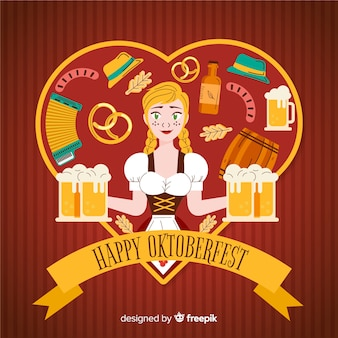 Decorative oktoberfest background flat design