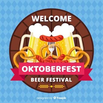 Decorative oktoberfest background flat design