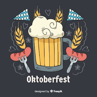 Decorative oktoberfest background hand drawn design