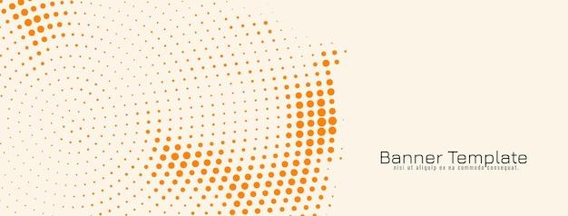 Decorative orange halftone design banner template vector