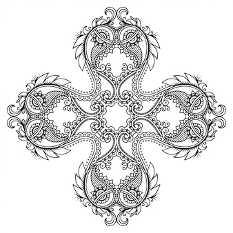 Decorative ornament in ethnic oriental style, in form of mandala with flower decoration. outline doodle hand draw  illustration.