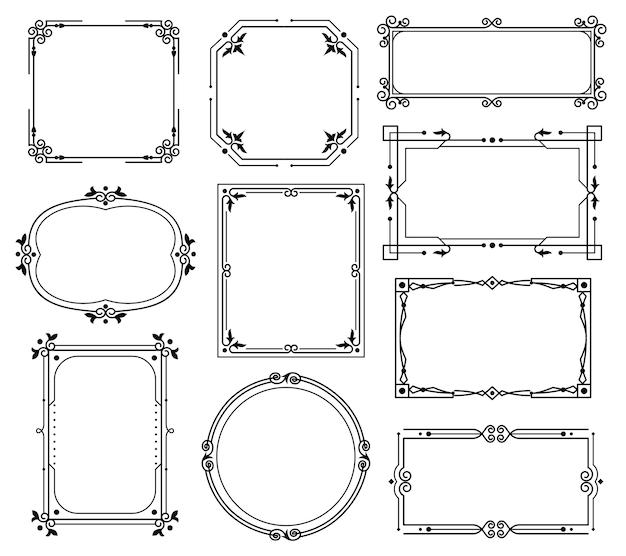 Decorative ornamental frames and borders.