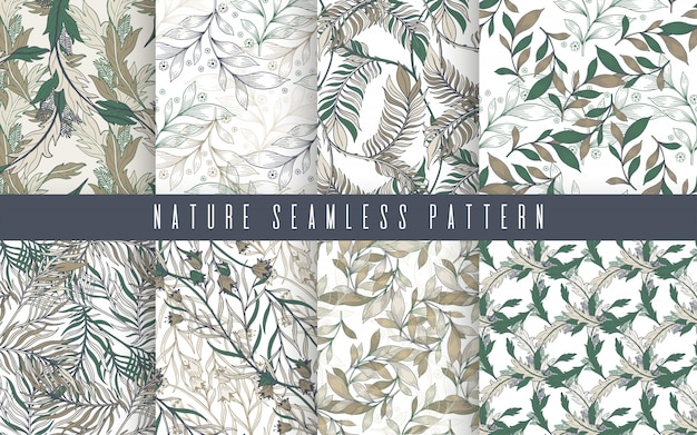 Decorative ornamental seamless spring seamless pattern set.