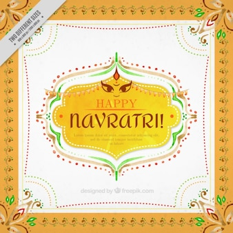 Decorative ornamental watercolor background of navratri