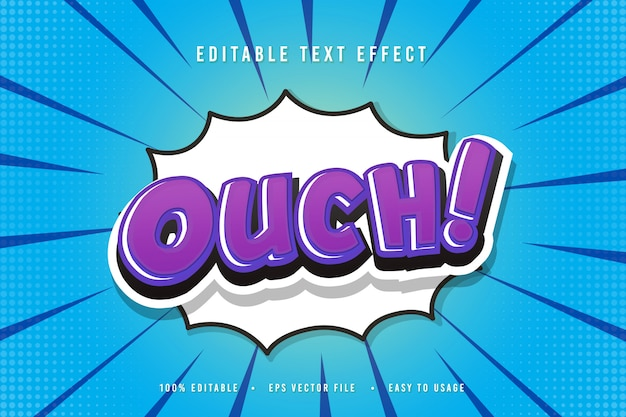 Decorative ouch comic font illustration