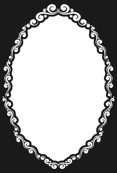 Decorative oval vintage frame with retro ornament in antique rococo style decorative design