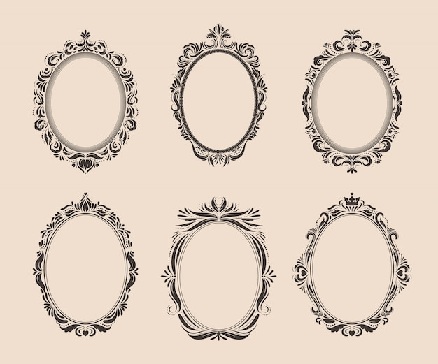 Decorative oval vintage frames and borders set. victorian and baroque  .