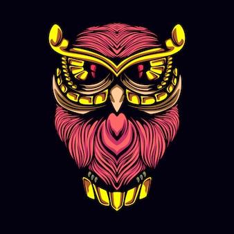 Decorative owl artwork illustration
