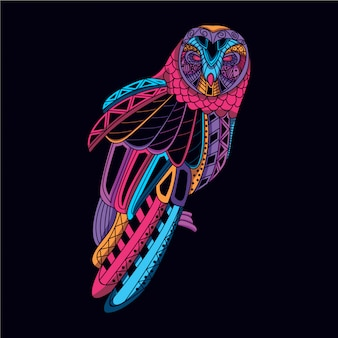Decorative owl from glow neon color Premium Vector