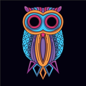 Decorative owl in glow neon color